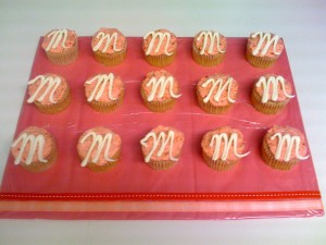 Monogrammed Cupcakes with Display Board