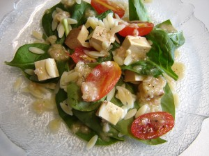 Using orzo and tofu in this salad moves this salad from a side-dish to the main-dish!  Or use your favorite soft cheese for a more classic version!