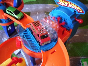 The automatic bubble blower sold me on buying this for my 2-year-old son who is a Hot Wheels fanatic!