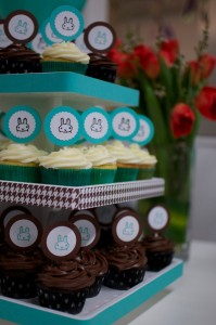 You can create an entire baby shower decoration scheme using one $6 rubber stamp!