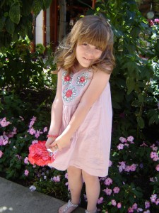 My niece, Erika, in her miniBoden flower girl dress, Stella &amp; Dot bracelet, Target sandals and hand-tied silk bouquet--PERFECT!