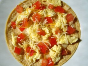 Surprise your little one with a pizza for breakfast!  Try to sneak in as many veggies as possible!