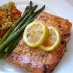 "Present the ultimate ""superfoods"" dinner with salmon, asparagus and quinoa pilaf!"