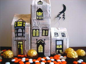 Milk cartons wraped in newspaper serve as the foundation of this super-easy Halloween haunted house.