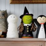 These cute and classic Hlloween decorations are made with clay pots and styrofoam spheres!