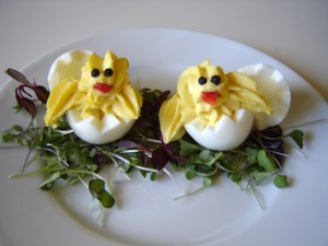Your kids will go bananas for these super-cute deviled egg chicks! Make sure to serves with plenty of fresh veggies for dipping!