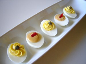 Offer your guests two different flavor deviled eggs: classic and chipotle pepper!