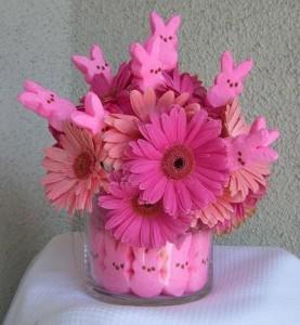 Make the perfect Peeps-themed Easter party with chocolate-covered Peeps at each place-setting and this beautiful Peep flower arrangement!