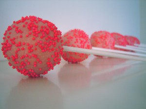 Using neon sprinkles make these strawberry pops POP!  These would be perfect for a girl&#039;s pirthday party or a baby shower!