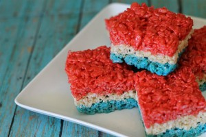 Turn this kiddie-classic into a 4th of July treat just by adding red and blue food coloring and layering in your pan!
