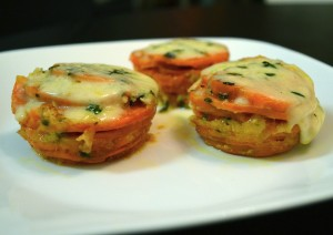 Wow your dinner guests with these sweet potato stacks, lighter and cuter than your common scalloped potato recipe.