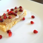 Rice Krispy treats with Almond Butter and Pomegranate Seeds