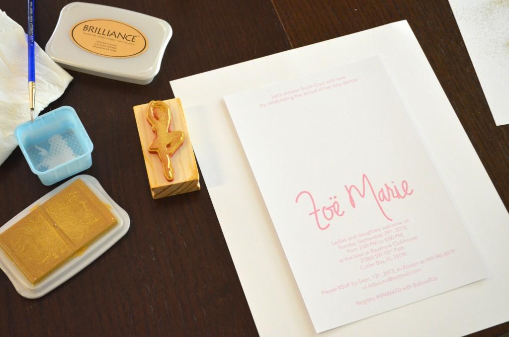 DIY Pink & Gold Ballerina Invitations // MyMommaToldMe.com