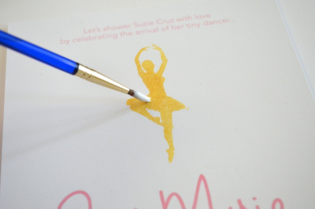 Pink and Gold Ballerina Baby Shower Invitation // MyMommaToldMe.com