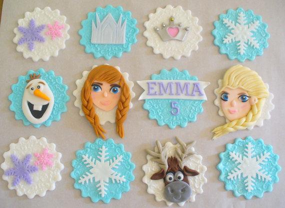 Frozen fondant cupcake toppers frozen birthday party ideas