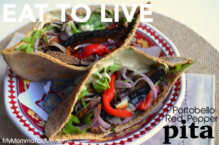 Dr. Fuhrman Nutritarian Diet recipe from EAT TO LIVE book Portobello Red Pepper Pita