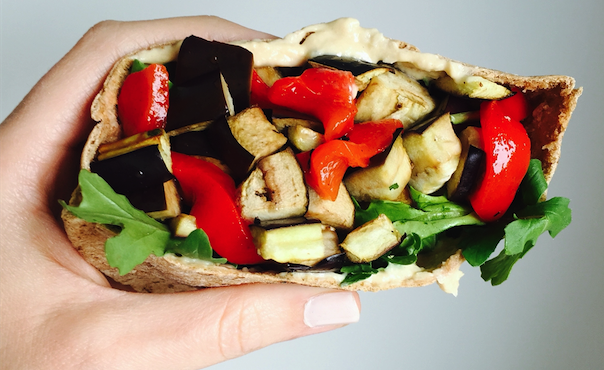 Dr. Fhurman Eat to Live Program Recipe Eggplant and Red pepper Pita MyMommaToldMe.com
